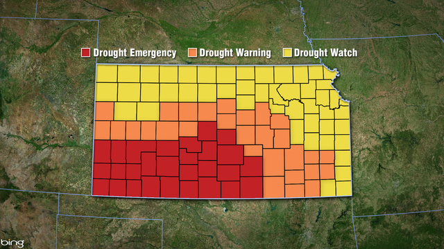 Governor declares drought emergency, warnings and watches for all 105 counties