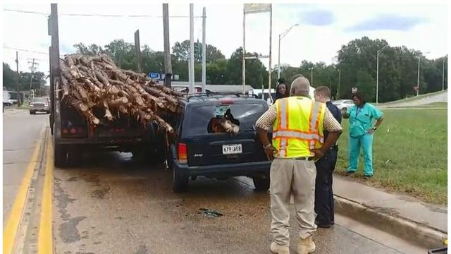 Close Call: Driver 'lucky to be alive' after log pierces vehicle with child inside